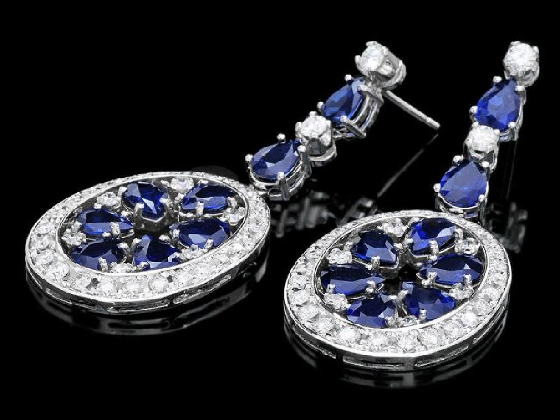 14k Gold 11.50ct Sapphire 3ct Diamond Earrings - 2