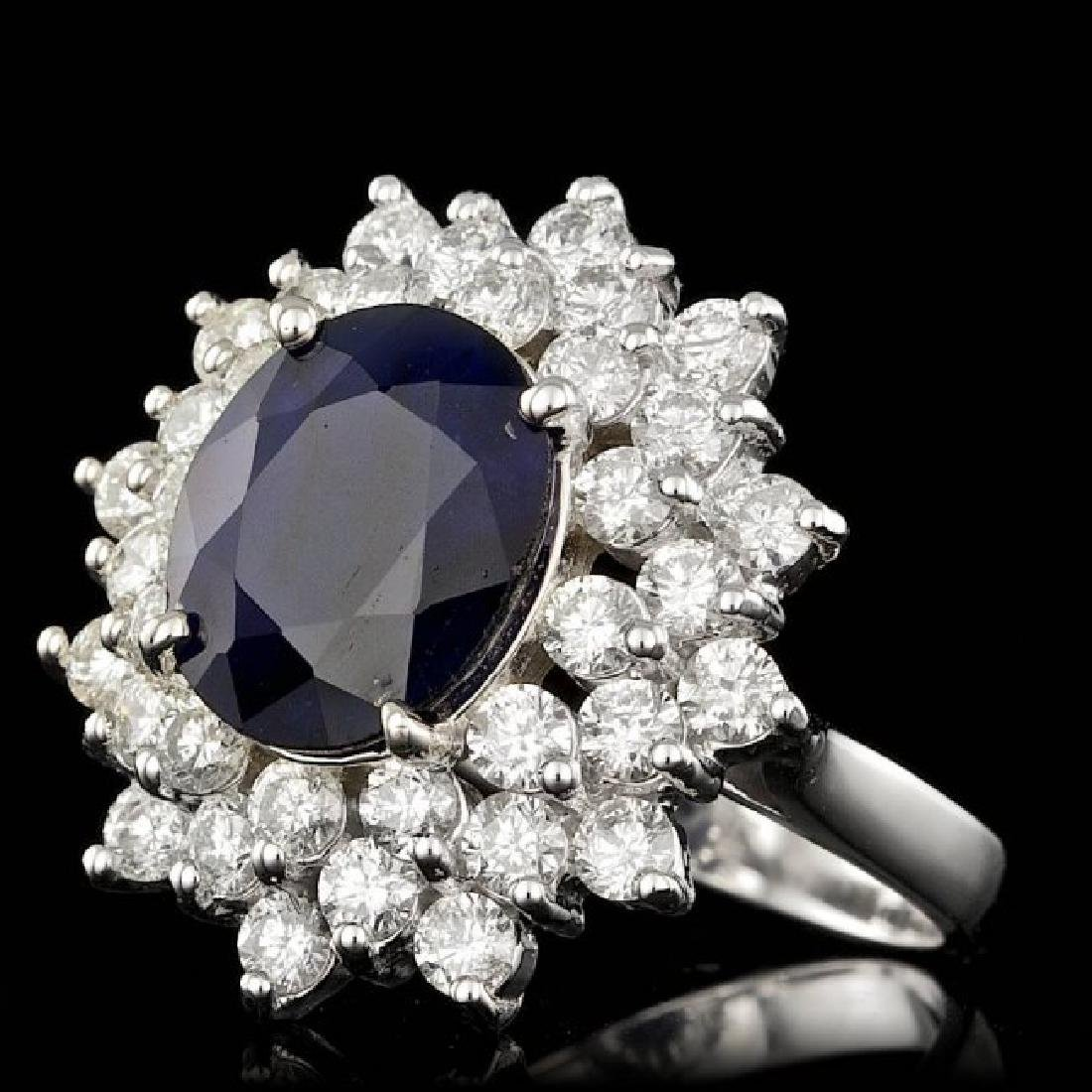 14k Gold 4.00ct Sapphire 2.00ct Diamond Ring - 2