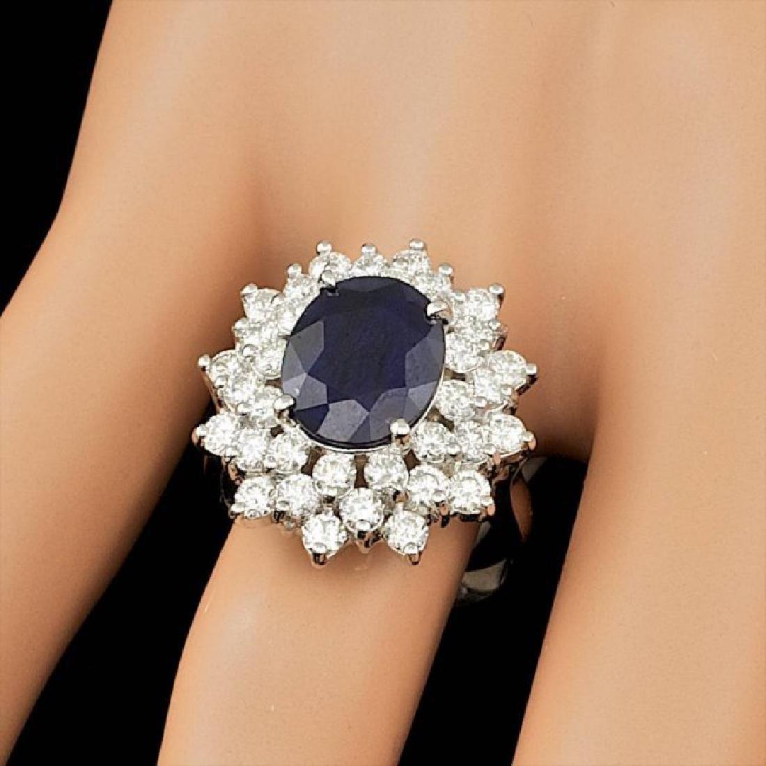 14k Gold 4.00ct Sapphire 2.00ct Diamond Ring - 3