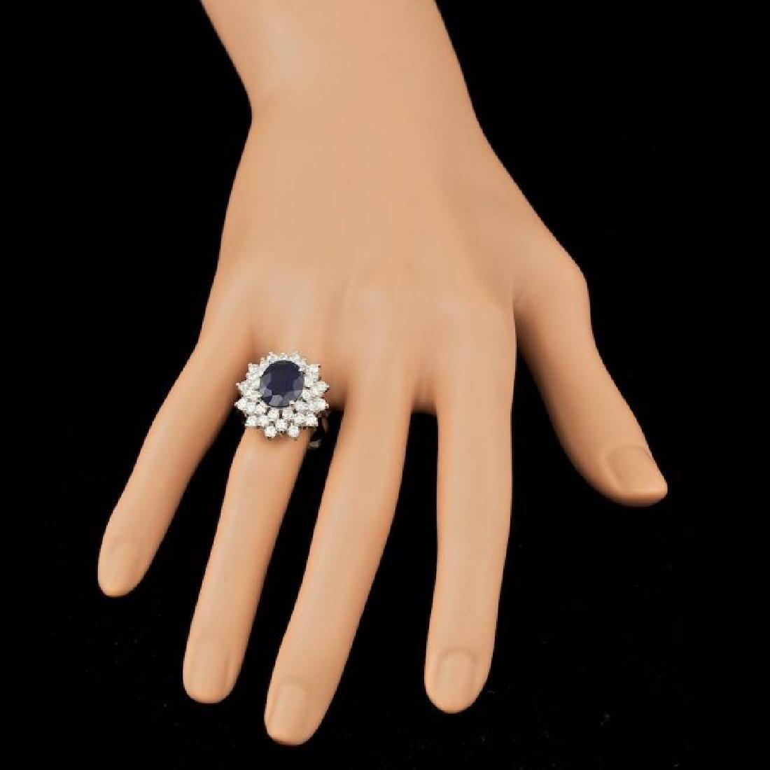 14k Gold 4.00ct Sapphire 2.00ct Diamond Ring - 4