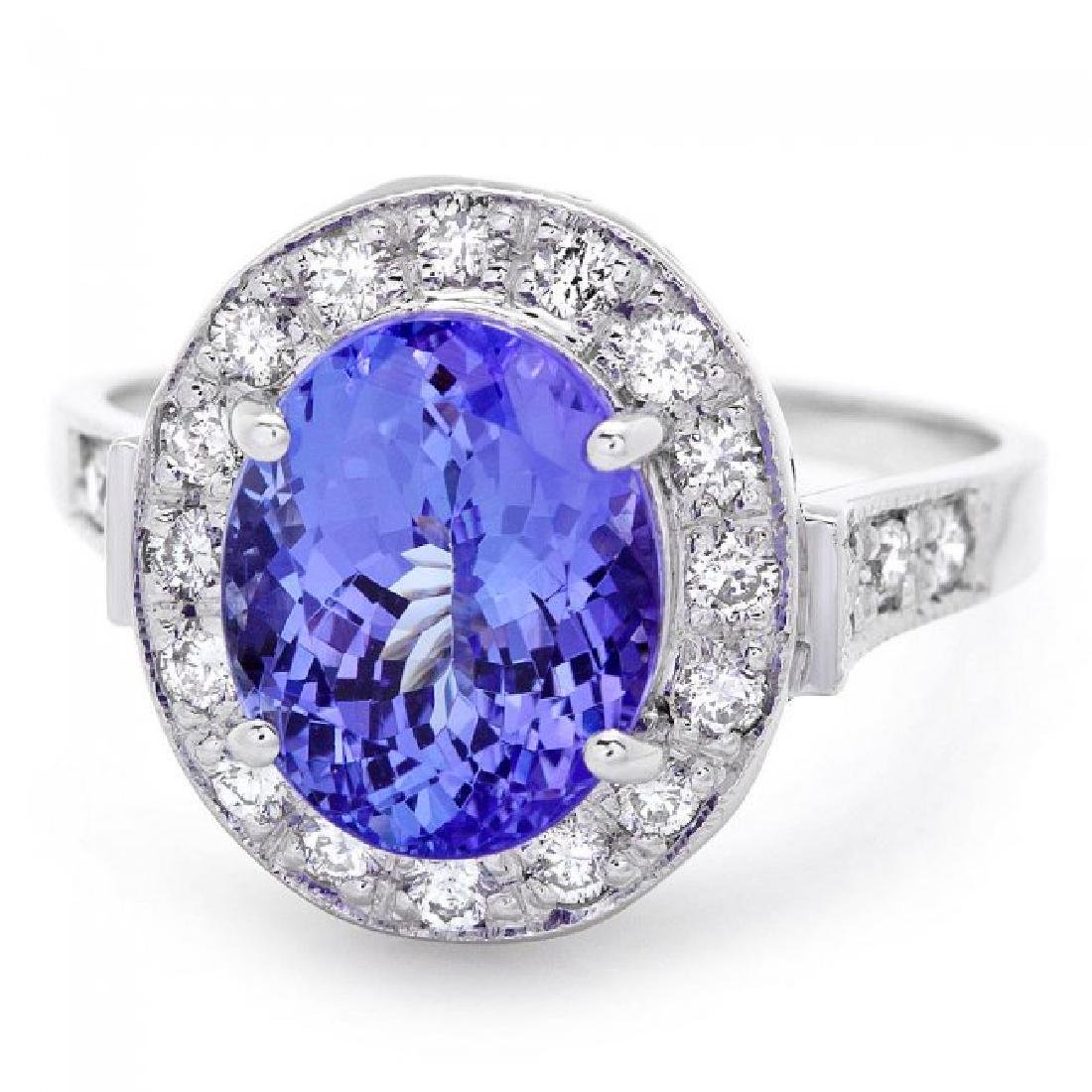 14k Gold 4.00ct Tanzanite 0.50ct Diamond Ring - 2