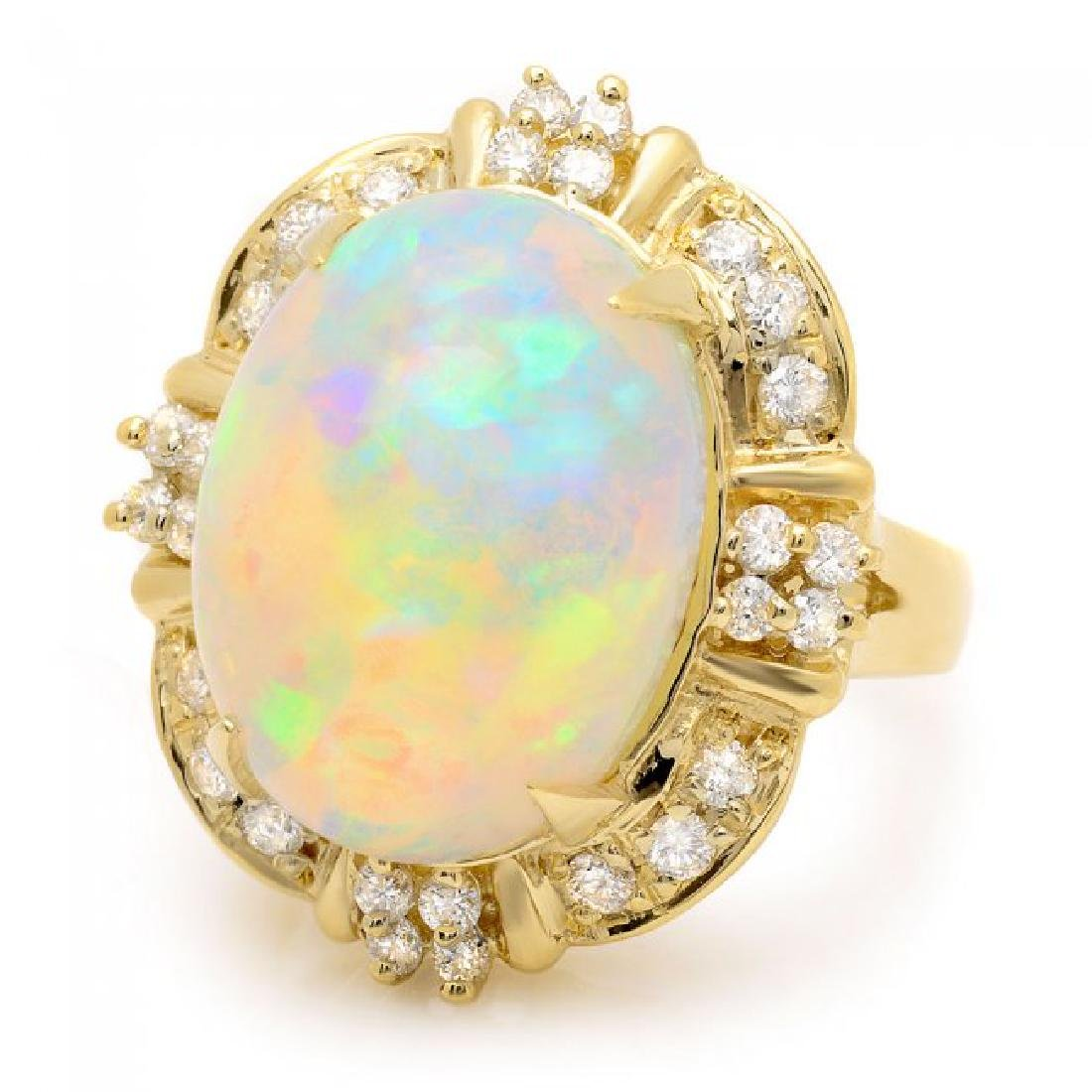 14k Yellow Gold 11.00ct Opal 0.70ct Diamond Ring - 2