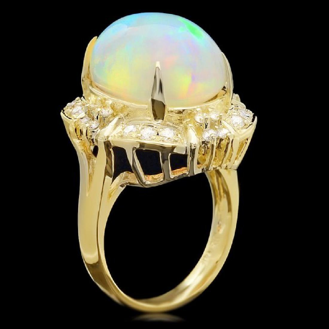 14k Yellow Gold 11.00ct Opal 0.70ct Diamond Ring - 3