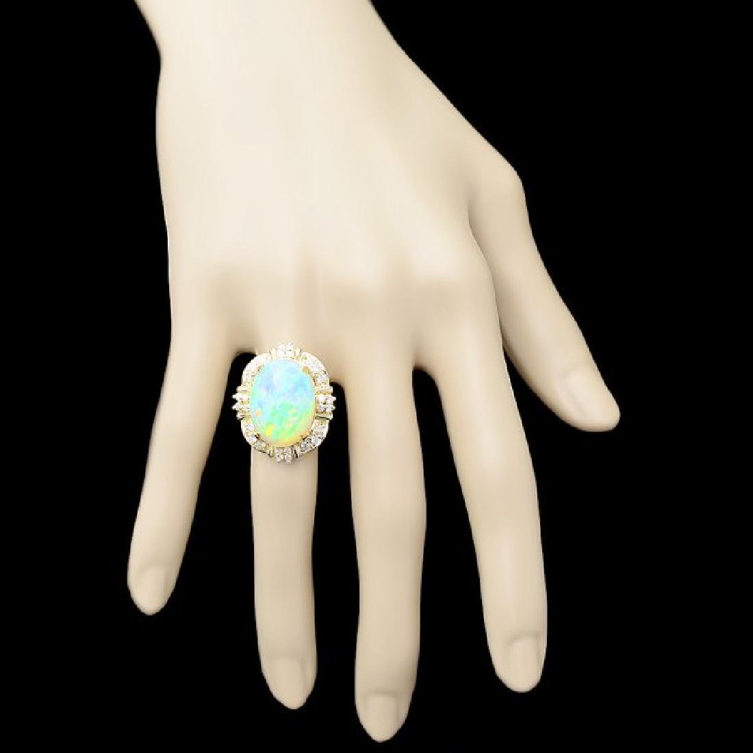 14k Yellow Gold 11.00ct Opal 0.70ct Diamond Ring - 4