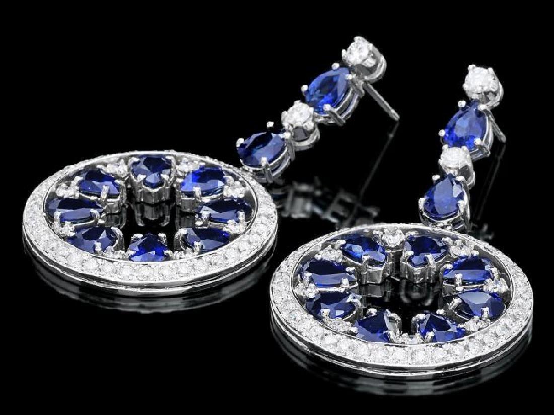 14k Gold 16ct Sapphire 3.50ct Diamond Earrings - 2