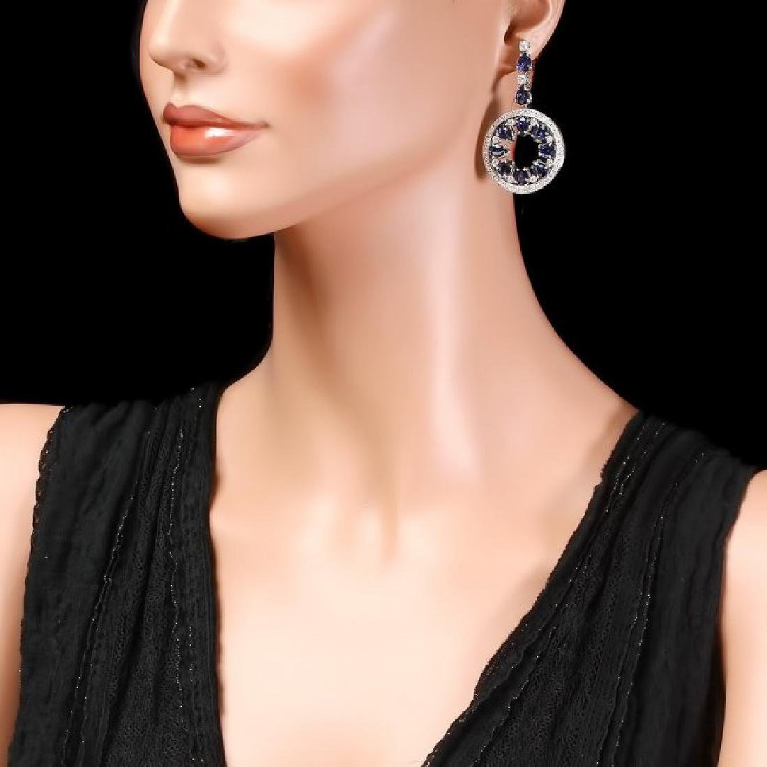 14k Gold 16ct Sapphire 3.50ct Diamond Earrings - 3