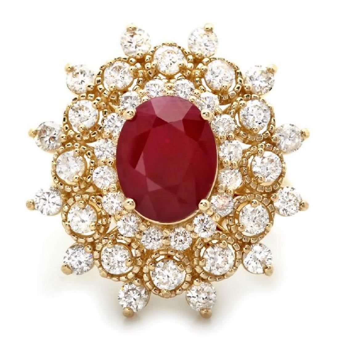 14k Yellow Gold 4.00ct Ruby 2.00ct Diamond Ring - 2