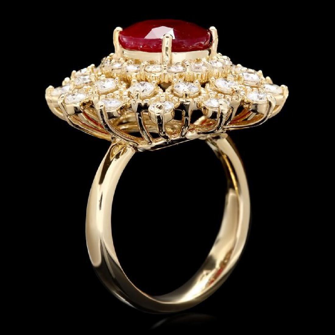 14k Yellow Gold 4.00ct Ruby 2.00ct Diamond Ring - 3