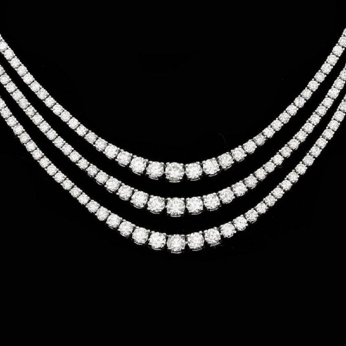 18k White Gold 12.60ct Diamond Necklace - 2
