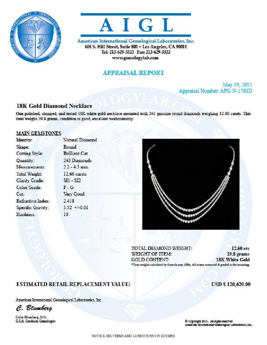 18k White Gold 12.60ct Diamond Necklace - 6