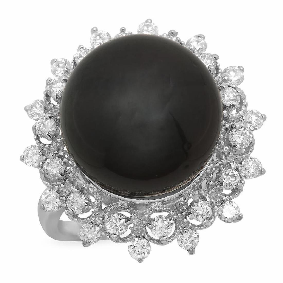 14K Gold 14mm Tahitian Pearl 0.80ct Diamond Ring