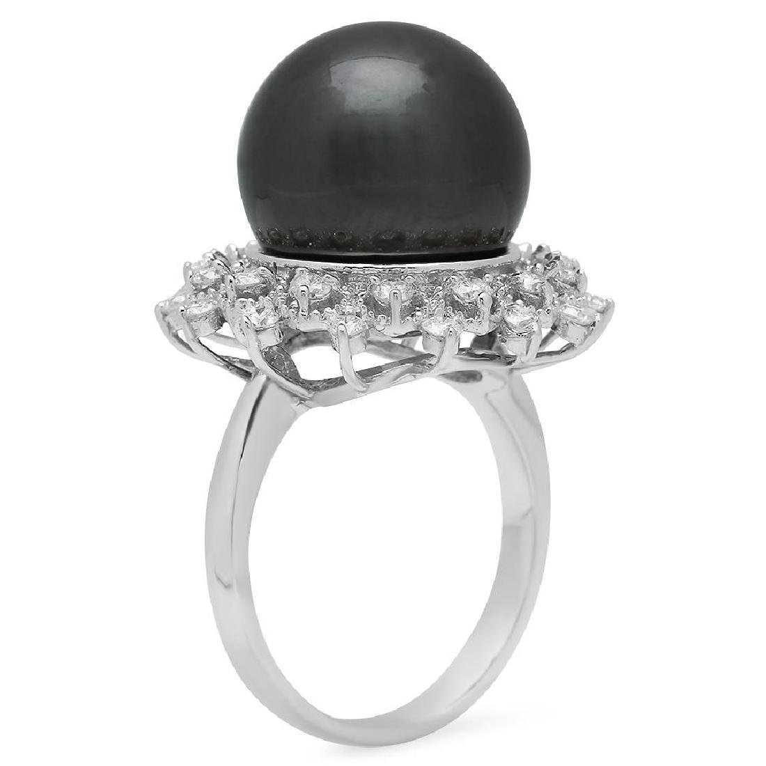 14K Gold 14mm Tahitian Pearl 0.80ct Diamond Ring - 2