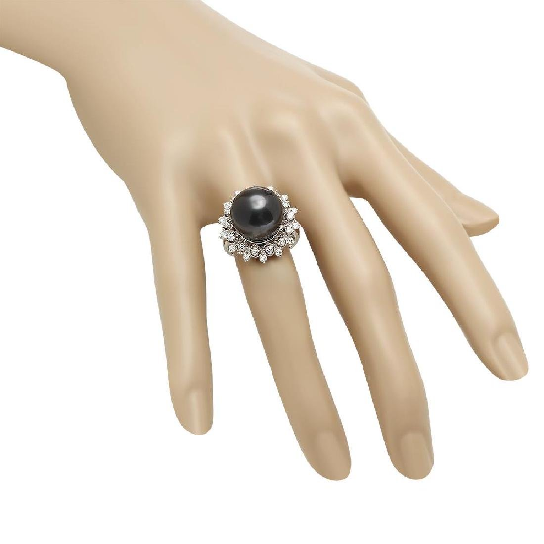 14K Gold 14mm Tahitian Pearl 0.80ct Diamond Ring - 3