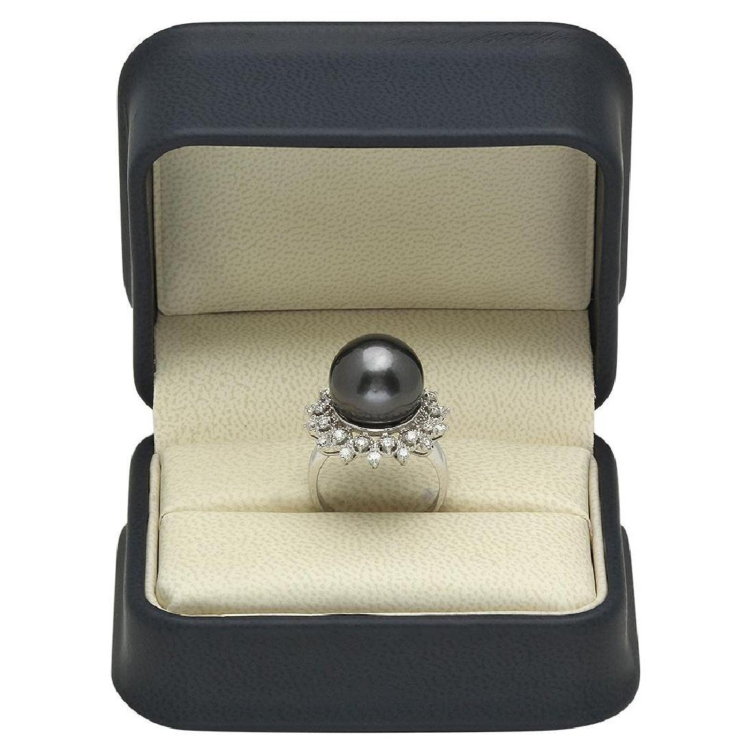 14K Gold 14mm Tahitian Pearl 0.80ct Diamond Ring - 4