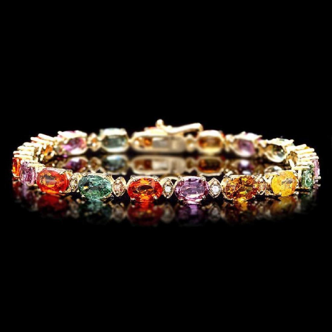 14k Gold 15ct Sapphire .60ct Diamond Bracelet