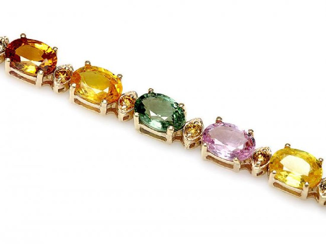14k Gold 15ct Sapphire .60ct Diamond Bracelet - 2