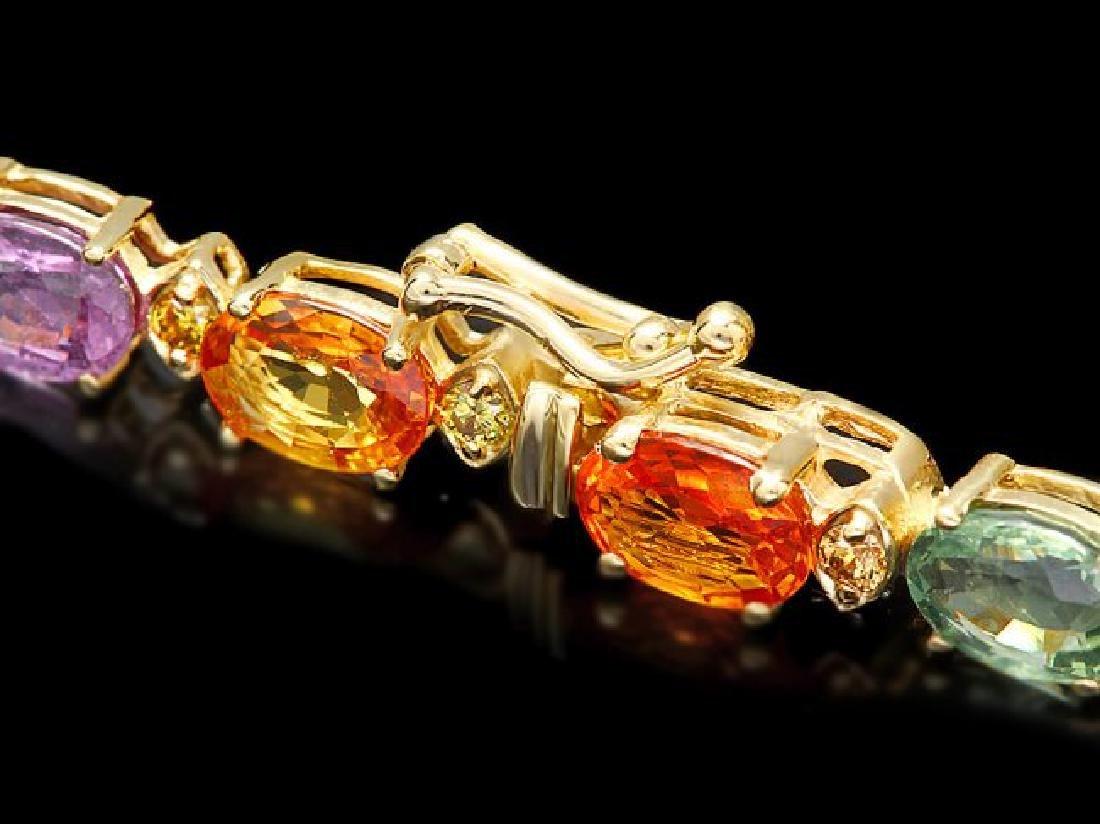 14k Gold 15ct Sapphire .60ct Diamond Bracelet - 3