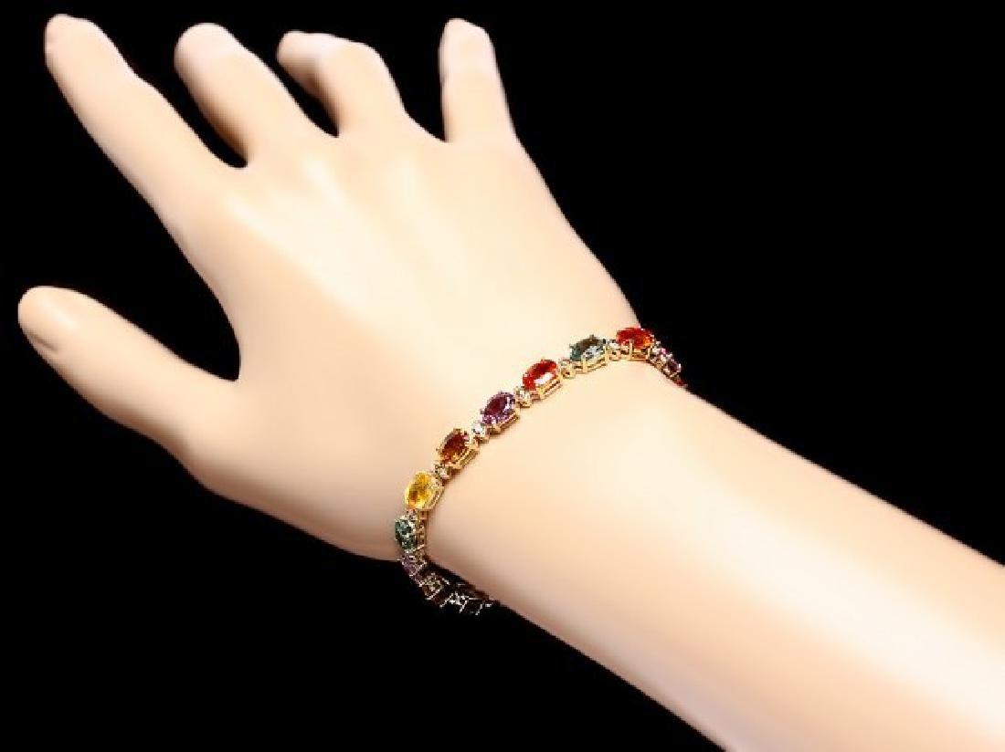 14k Gold 15ct Sapphire .60ct Diamond Bracelet - 5