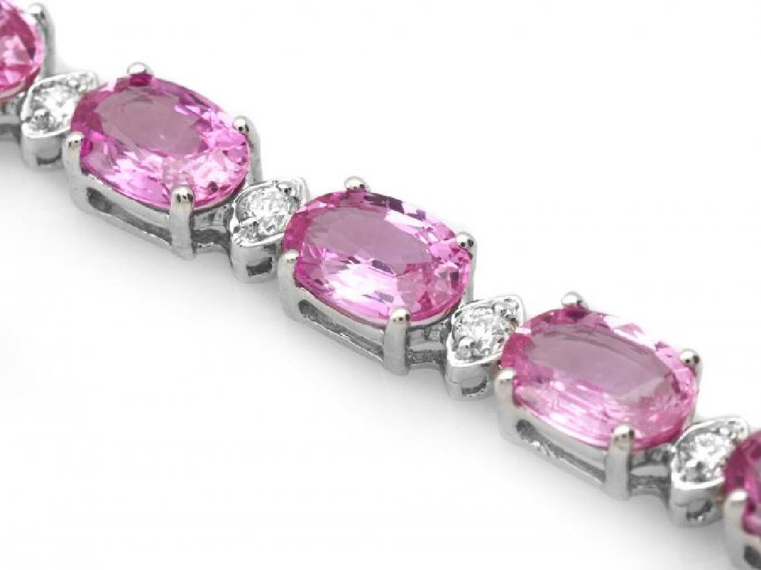 14k Gold 17ct Sapphire .75ct Diamond Bracelet - 2
