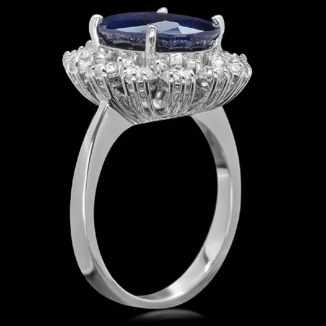 14k Gold 6.00ct Sapphire 1.35ct Diamond Ring - 2