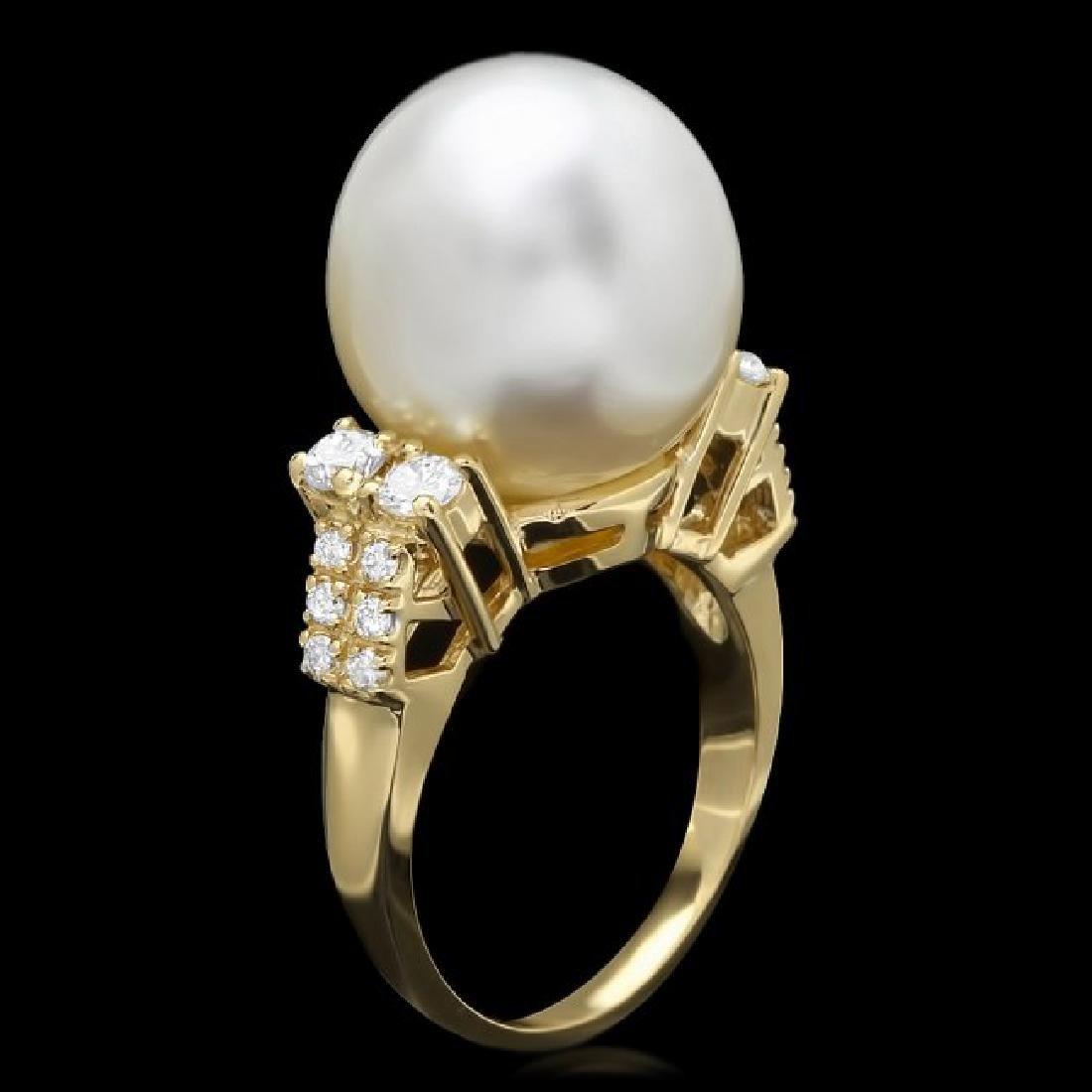 14k Gold 14 X 16mm Pearl 0.60ct Diamond Ring - 2