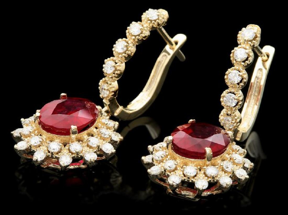 14k Gold 7.00ct Ruby 1.70ct Diamond Earrings - 2