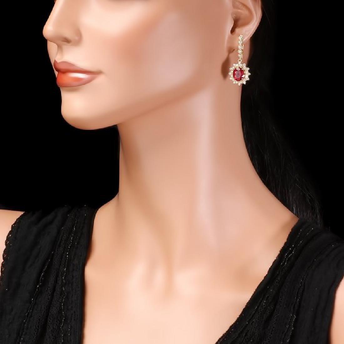 14k Gold 7.00ct Ruby 1.70ct Diamond Earrings - 3
