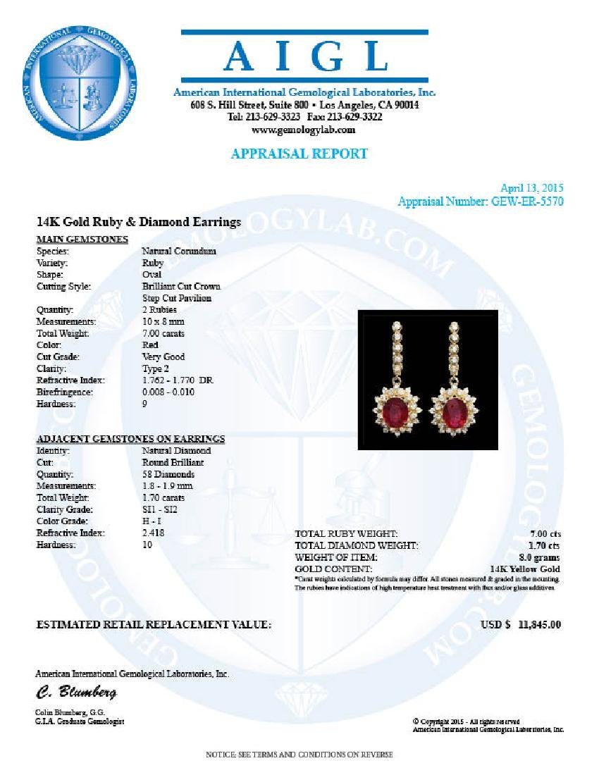 14k Gold 7.00ct Ruby 1.70ct Diamond Earrings - 4
