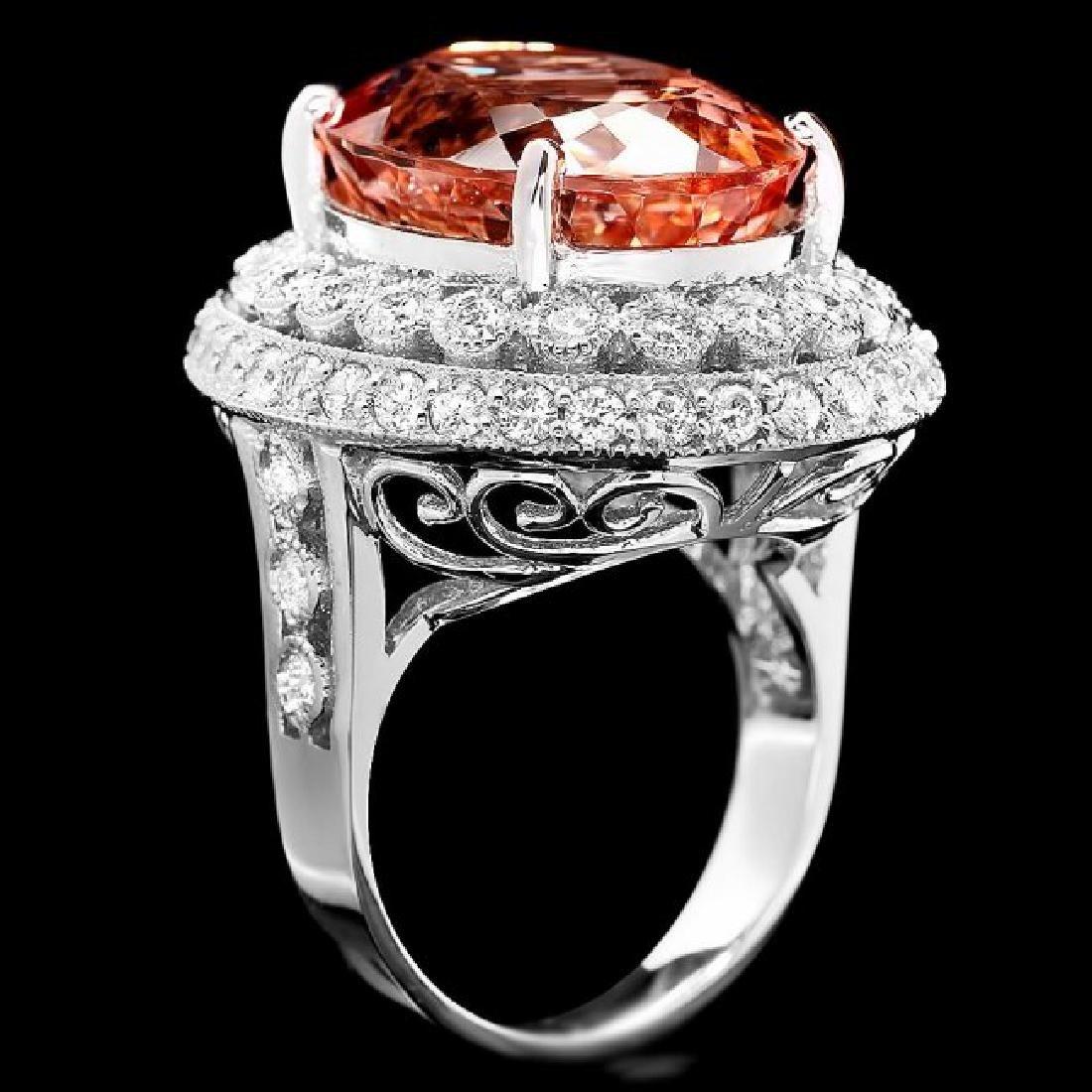 14k Gold 16.20ct Morganite 1.85ct Diamond Ring - 2