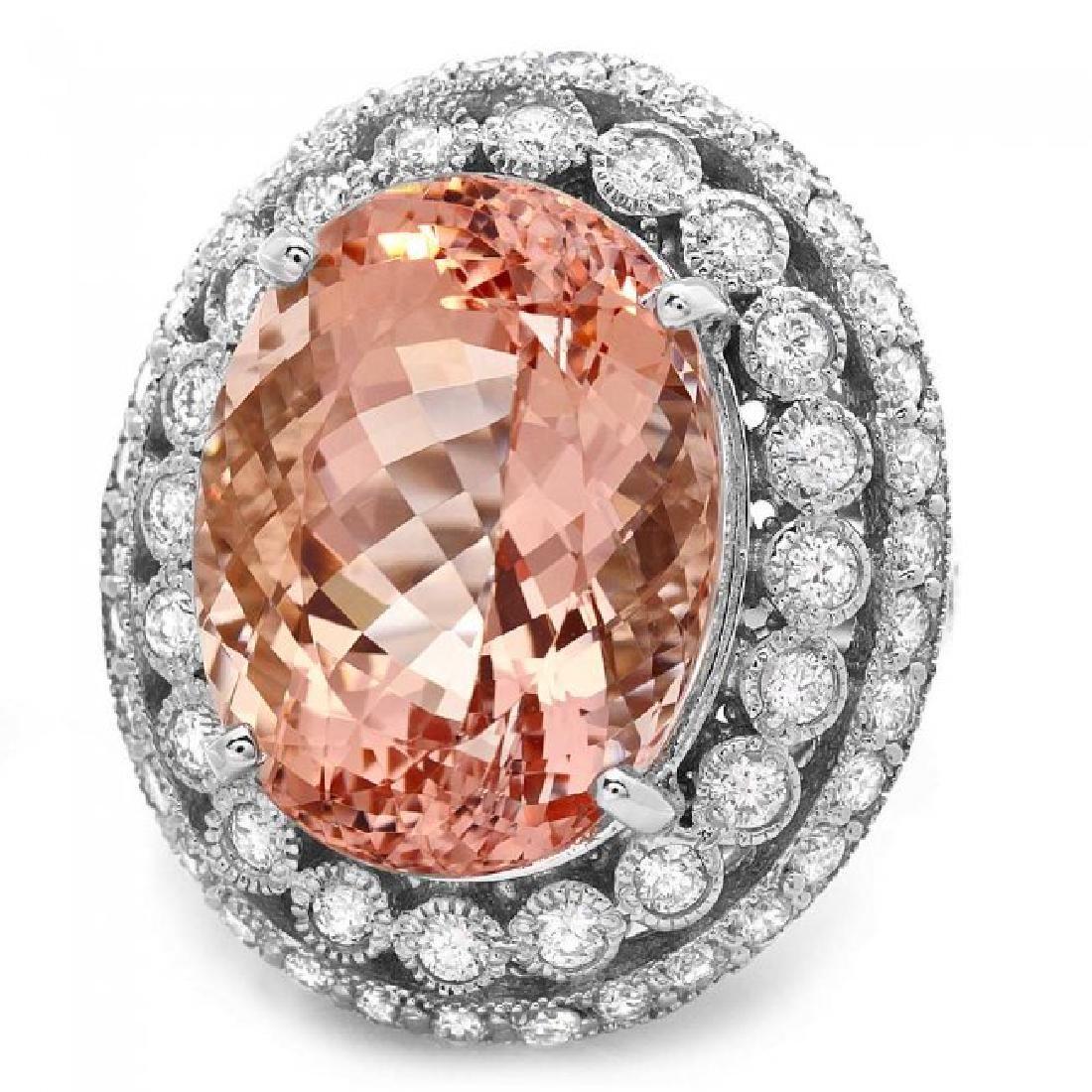 14k Gold 16.20ct Morganite 1.85ct Diamond Ring - 3