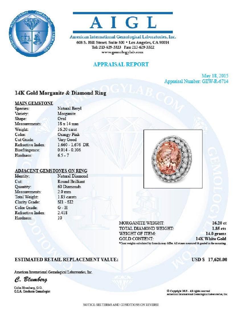 14k Gold 16.20ct Morganite 1.85ct Diamond Ring - 5