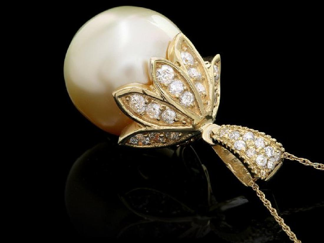 14k Yellow Gold 16mm Pearl 1.30ct Diamond Pendant - 2