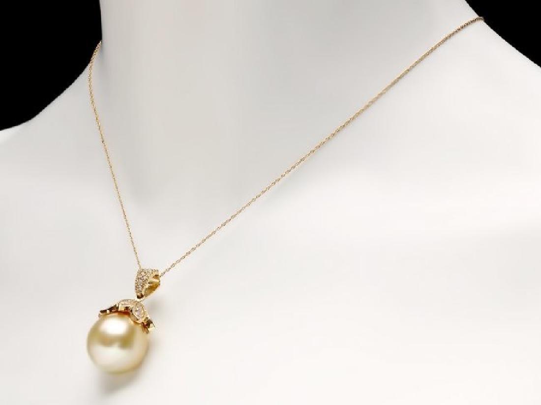 14k Yellow Gold 16mm Pearl 1.30ct Diamond Pendant - 4