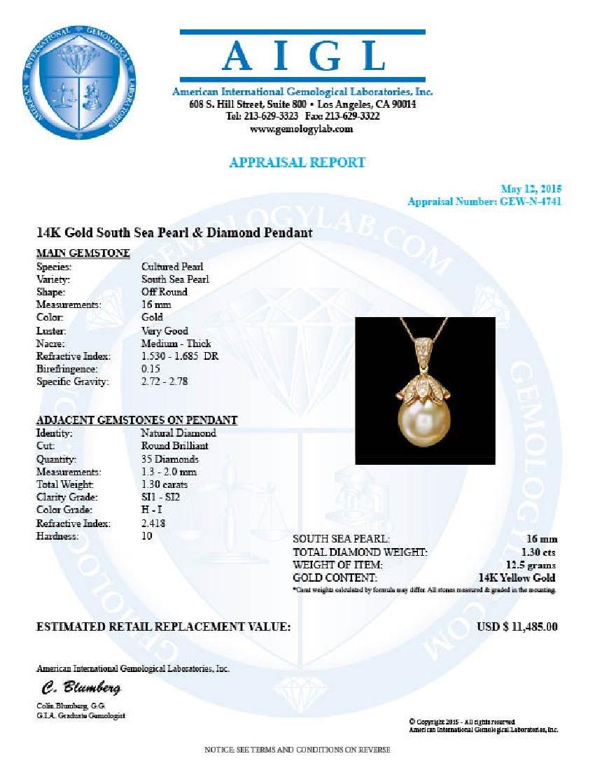 14k Yellow Gold 16mm Pearl 1.30ct Diamond Pendant - 5