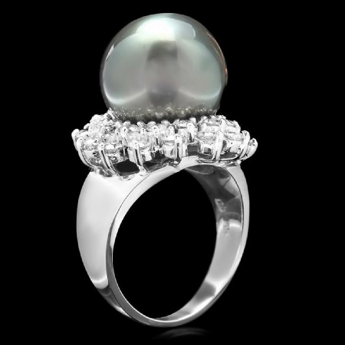 14k White Gold 13mm Pearl 1.55ct Diamond Ring - 3