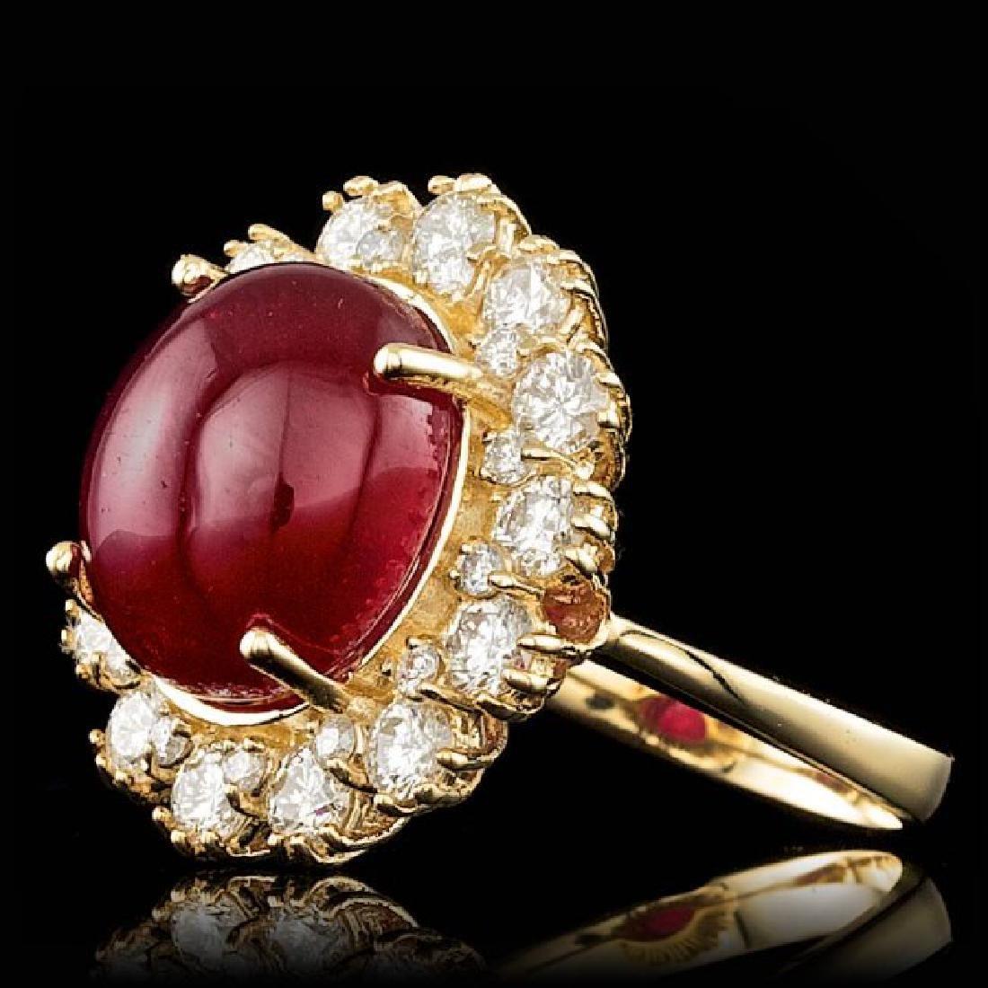 14k Yellow Gold 9.50ct Ruby 1.40ct Diamond Ring - 2