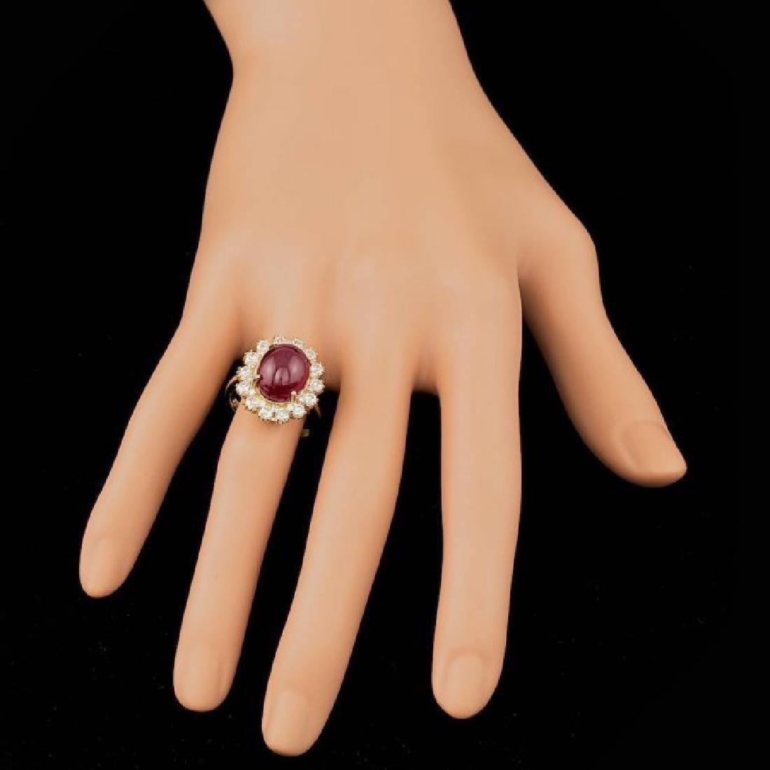 14k Yellow Gold 9.50ct Ruby 1.40ct Diamond Ring - 4
