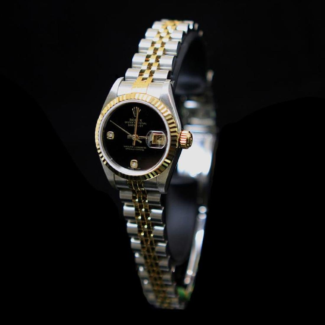Rolex Two-Tone DateJust 26mm Factory (2) Diamonds Black - 2