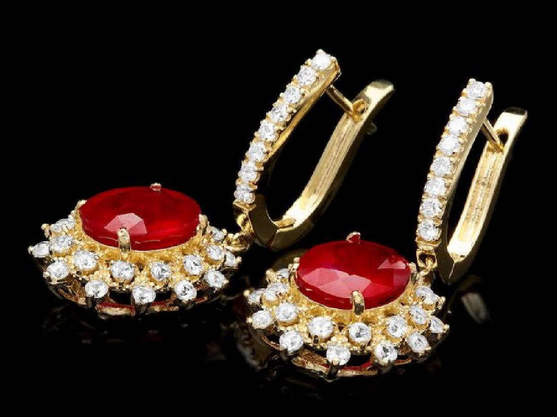 14k Gold 6.5ct Ruby 2.00ct Diamond Earrings - 2