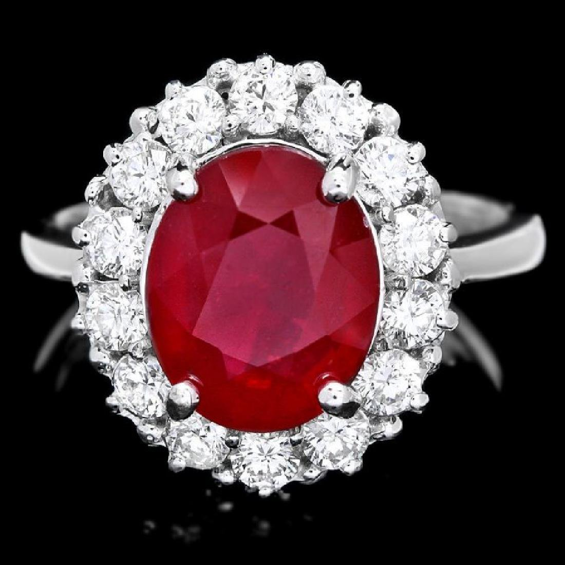 14k White Gold 5.00ct Ruby 1.00ct Diamond Ring