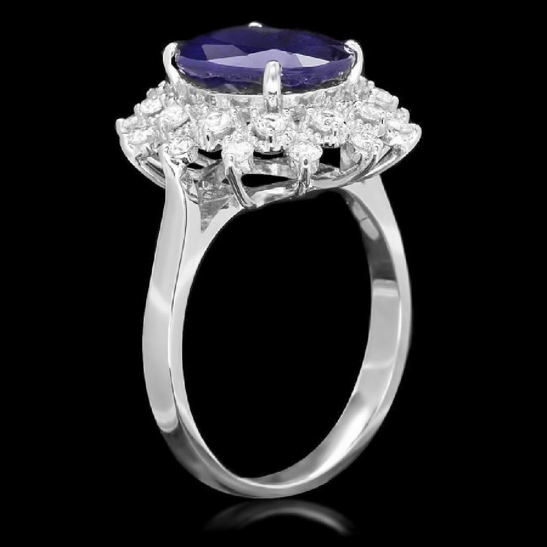 14k Gold 3.70ct Sapphire 0.70ct Diamond Ring - 2