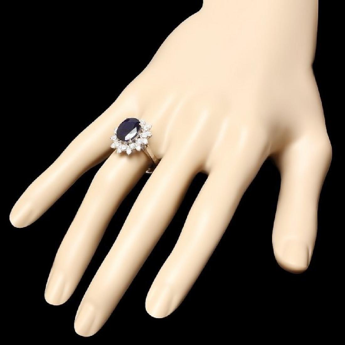 14k Gold 3.70ct Sapphire 0.70ct Diamond Ring - 3