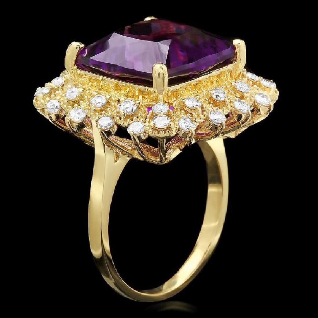 14k Gold 9.32ct Amethyst 0.90ct Diamond Ring - 2