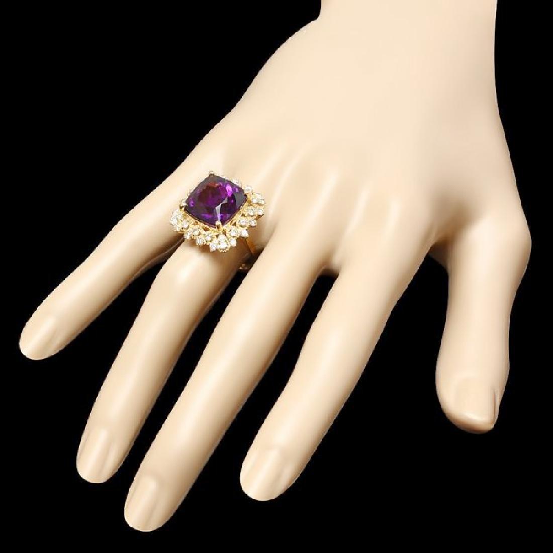 14k Gold 9.32ct Amethyst 0.90ct Diamond Ring - 3