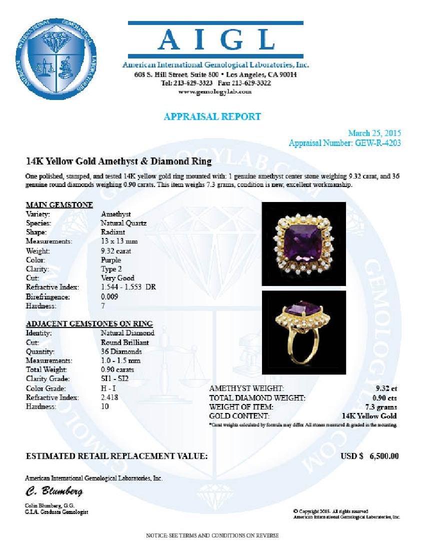 14k Gold 9.32ct Amethyst 0.90ct Diamond Ring - 4