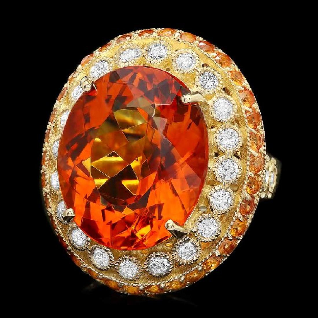 14k Gold 15.00ct Citrine 0.90ct Diamond Ring