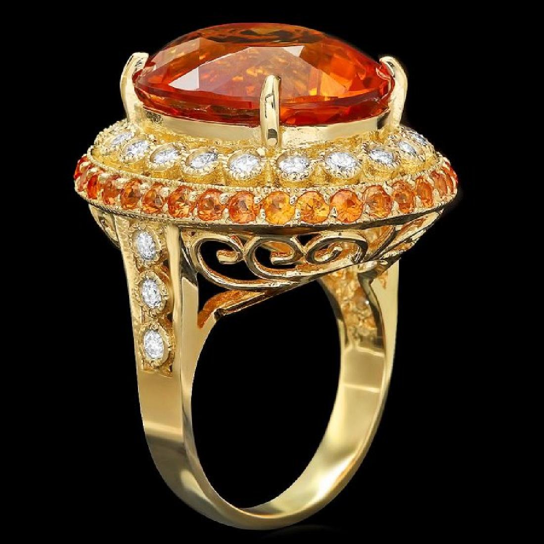 14k Gold 15.00ct Citrine 0.90ct Diamond Ring - 2