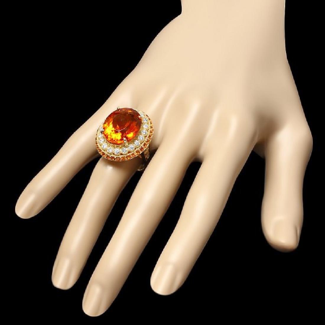 14k Gold 15.00ct Citrine 0.90ct Diamond Ring - 3