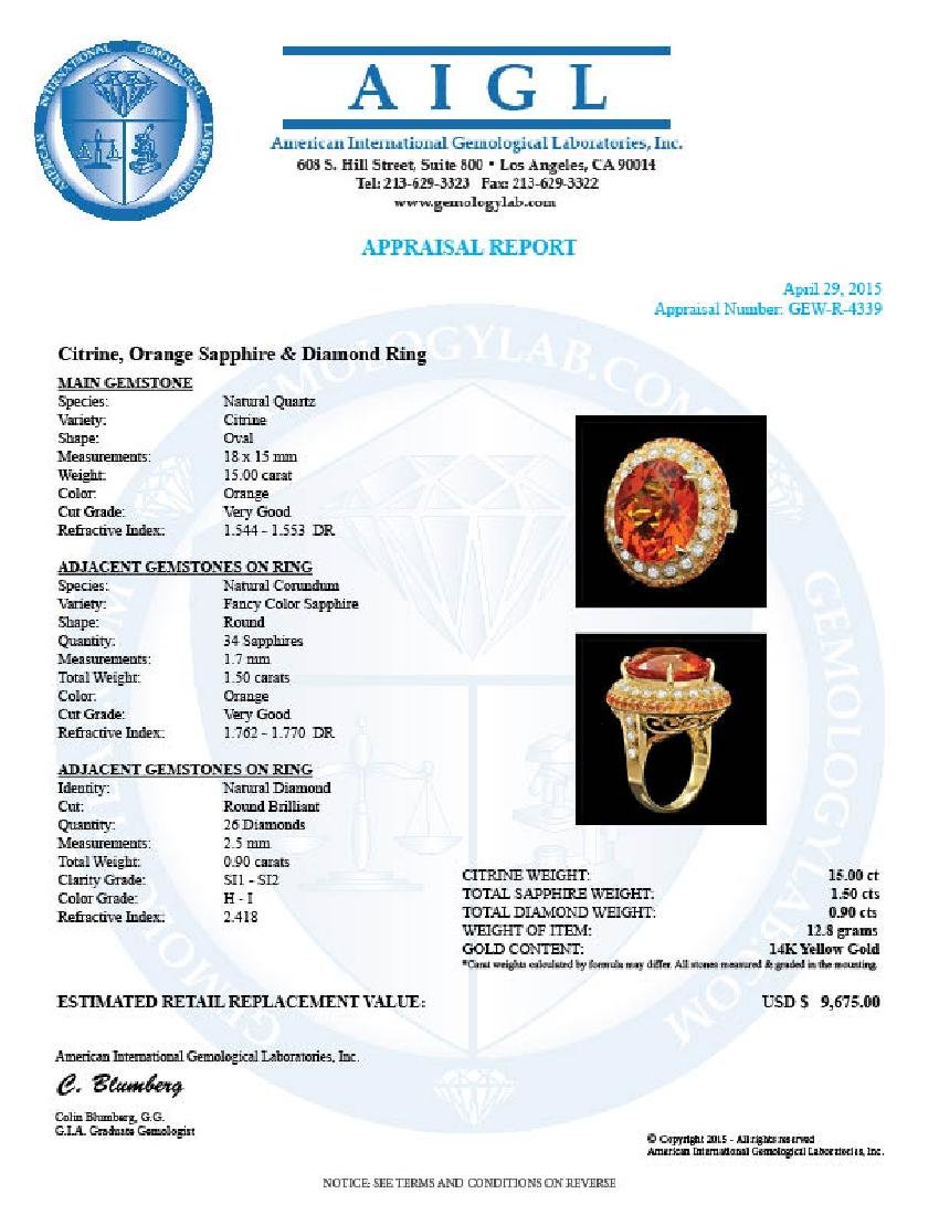 14k Gold 15.00ct Citrine 0.90ct Diamond Ring - 4