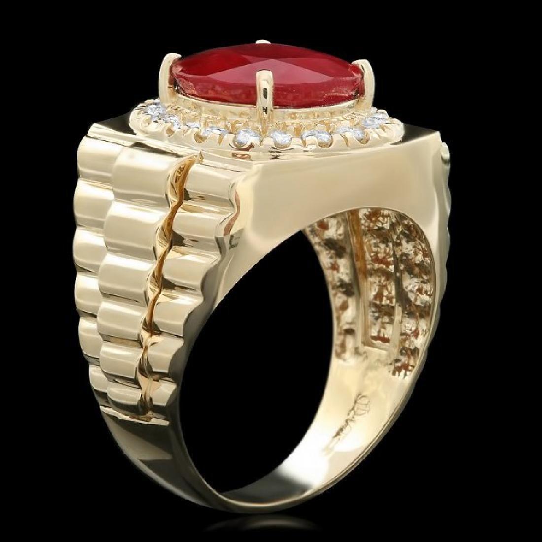 14k Gold 8.00ct Ruby 0.70ct Diamond Mens Ring - 2